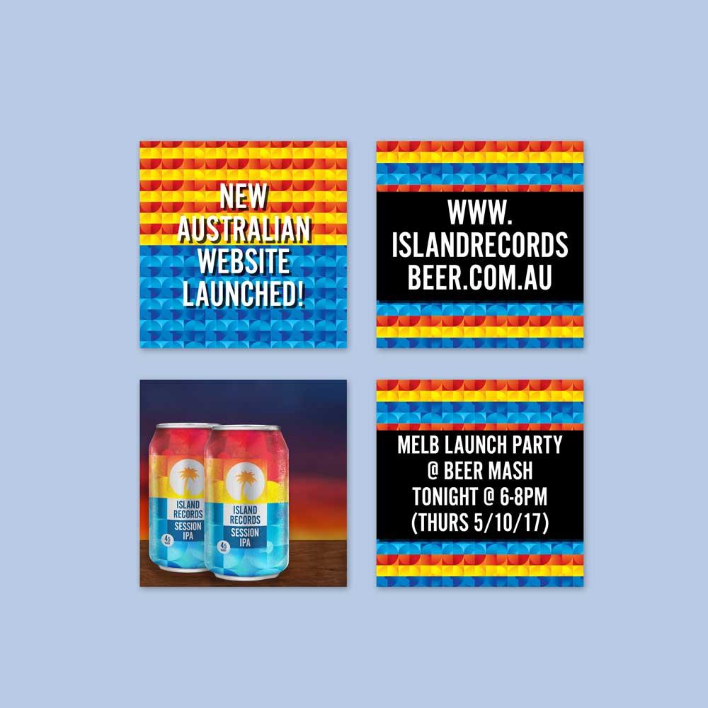 Social Media Posts for Island Records Beer Australia